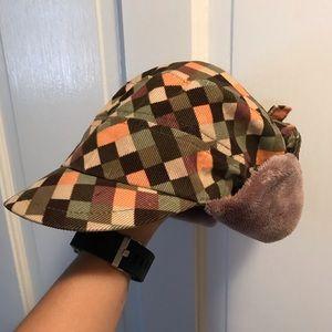 Multicolor Grace hat w/fuzzy ear flaps